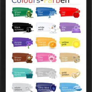Plakat do nauki kolorów w języku angielskim i niemieckim