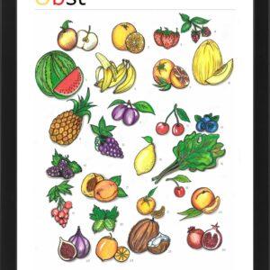 Kolorowy plakat edukacyjny do nauki nazw owoców w języku niemieckim